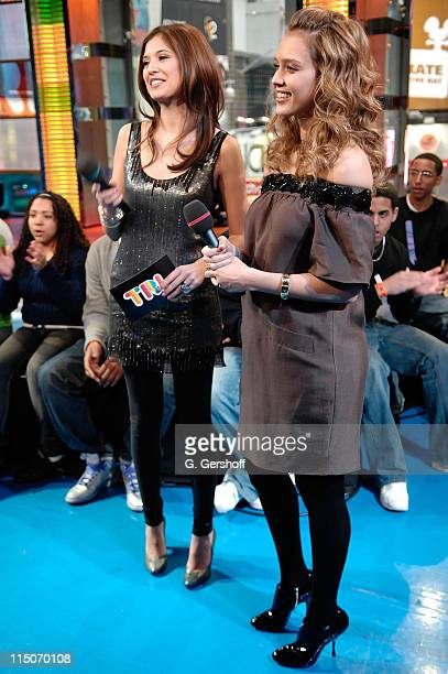 Actress Jessica Alba visits with VJ Lyndsey Rodrigues at MTV's TRL at MTV Studios Times Square on January 29 2008 in New York City