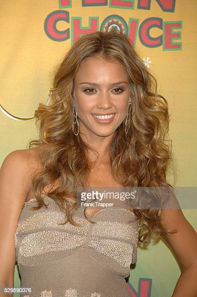 Actress Jessica Alba who won for Choice Hottie Female posing in the press room at the 8th annual Teen Choice Awards held at Gibson Amphitheatre in...
