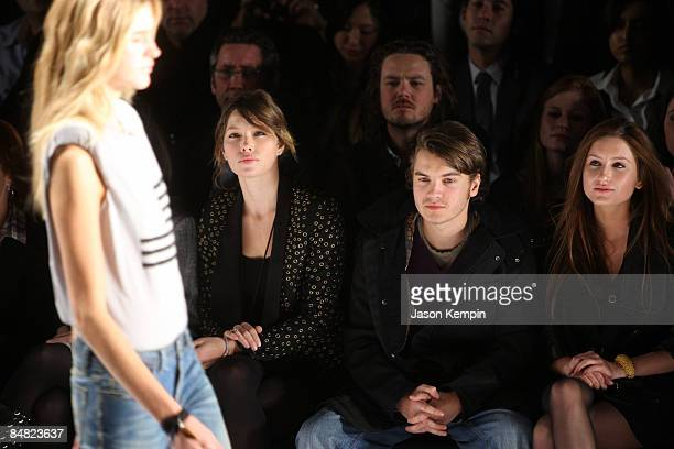 Actress Jessica Biel actor Emile Hirsch and Brianna Domont attend William Rast Fall 2009 during MercedesBenz Fashion Week at The Tent in Bryant Park...