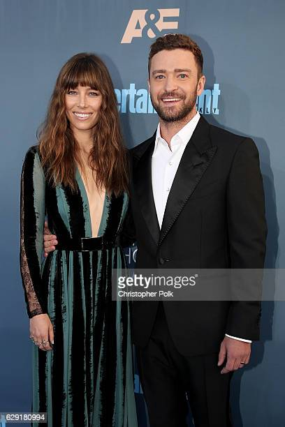 Actress Jessica Biel and actor/singer Justin Timberlake attend The 22nd Annual Critics' Choice Awards at Barker Hangar on December 11, 2016 in Santa...
