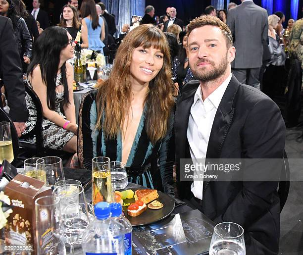 Actress Jessica Biel and actor/singer Justin Timberlake attend the 22nd Annual Critic's Choice Awards at Barker Hangar on December 11, 2016 in Santa...