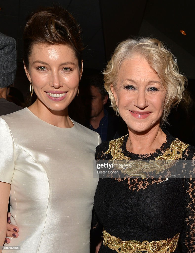 Actress Jessica Biel and Dame Helen Mirren attend the after party for the premiere of Fox Searchlight Pictures' 'Hitchcock' at the Academy of Motion Picture Arts and Sciences Samuel Goldwyn Theater on November 20, 2012 in Beverly Hills, California.