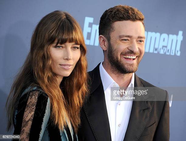 Actress Jessica Biel and Justin Timberlake arrive at The 22nd Annual Critics' Choice Awards at Barker Hangar on December 11 2016 in Santa Monica...