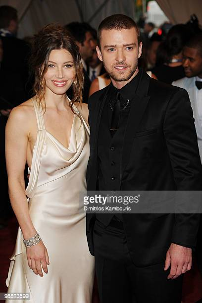 """Actress Jessica Biel and musician Justin Timberlake attend the Costume Institute Gala Benefit to celebrate the opening of the """"American Woman:..."""