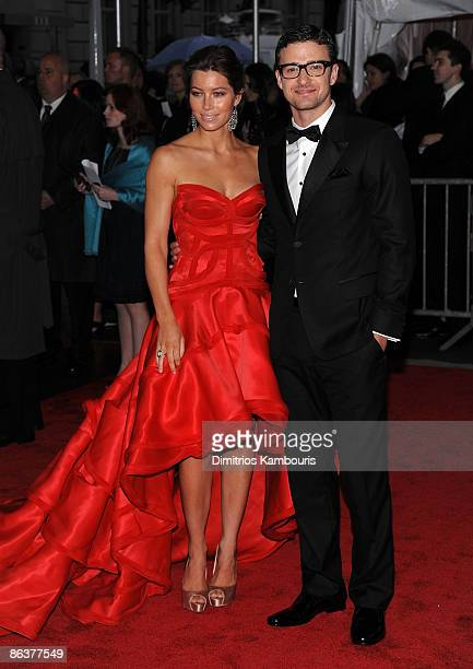 Actress Jessica Biel and musician Justin Timberlake attend The Model as Muse Embodying Fashion Costume Institute Gala at The Metropolitan Museum of...