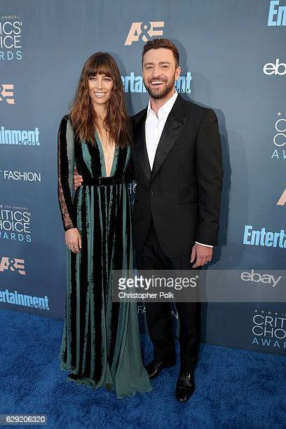 Actress Jessica Biel and recording artist Justin Timberlake attend The 22nd Annual Critics' Choice Awards at Barker Hangar on December 11 2016 in...