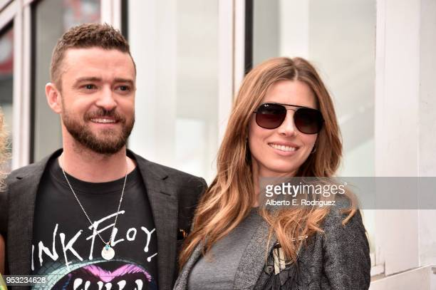 Actress Jessica Biel and singer Justin Timberlake as part of 'NSYNC is honored with a star on the Hollywood Walk of Fame on April 30 2018 in...