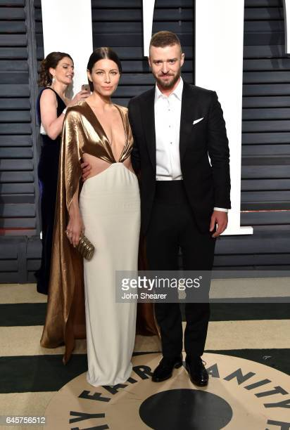 Actress Jessica Biel and singer Justin Timberlake attend the 2017 Vanity Fair Oscar Party hosted by Graydon Carter at Wallis Annenberg Center for the...
