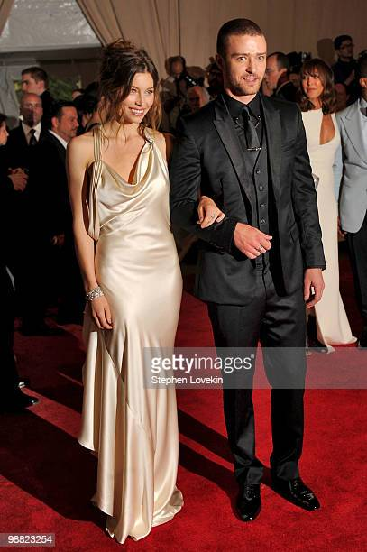 """Actress Jessica Biel and singer Justin Timberlake attend the Costume Institute Gala Benefit to celebrate the opening of the """"American Woman:..."""