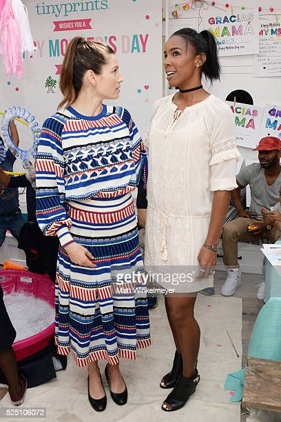 Actress Jessica Biel and singer Kelly Rowland attend the Baby2Baby Mother's Day Party presented by Tiny Prints at AU FUDGE on April 27 2016 in West...