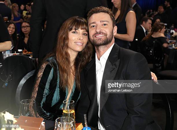 Actress Jessica Biel and singer/actor Justin Timberlake at the 22nd Annual Critics' Choice Awards presented by Landmark Vineyards at Barker Hangar on...