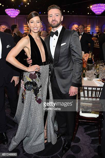 Actress Jessica Biel and singersongwriter Justing Timberlake at the 74th annual Golden Globe Awards sponsored by FIJI Water at The Beverly Hilton...