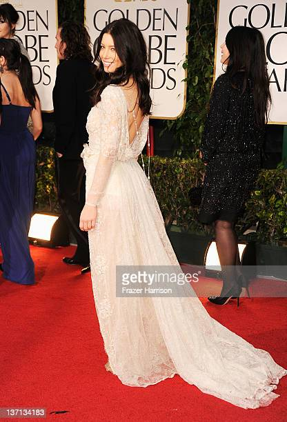 Actress Jessica Biel arrives at the 69th Annual Golden Globe Awards held at the Beverly Hilton Hotel on January 15, 2012 in Beverly Hills, California.