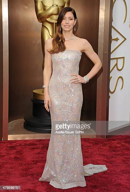 Actress Jessica Biel arrives at the 86th Annual Academy Awards at Hollywood Highland Center on March 2 2014 in Hollywood California
