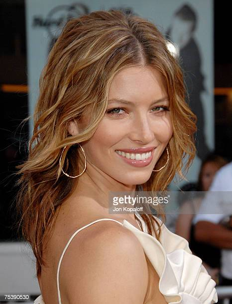 Actress Jessica Biel arrives at the I Now Pronounce You Chuck and Larry premiere at the Gibson Amphitheatre and CityWalk Cinemas on July 12 2007 in...