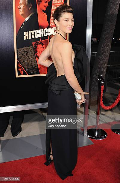 Actress Jessica Biel arrives at the Los Angeles Premiere Hitchcock at AMPAS Samuel Goldwyn Theater on November 20 2012 in Beverly Hills California