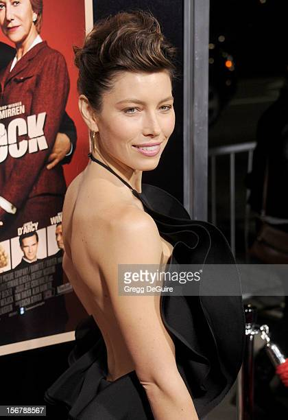 Actress Jessica Biel arrives at the Los Angeles premiere of 'Hitchcock' at the Academy of Motion Picture Arts and Sciences on November 20 2012 in...
