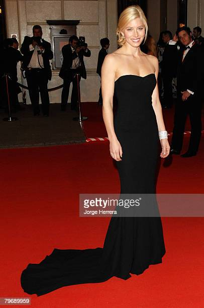 Actress Jessica Biel arrives at the Orange British Academy Film Awards at the Royal Opera House on February 10 2008 in London England