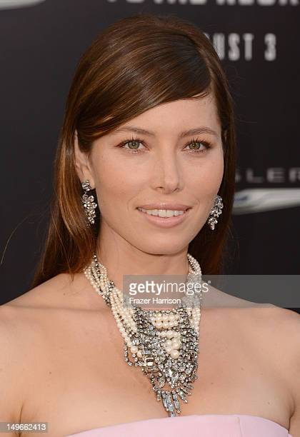 "Actress Jessica Biel arrives at the premiere of Columbia Pictures' ""Total Recall"" held at Grauman's Chinese Theatre on August 1, 2012 in Hollywood,..."