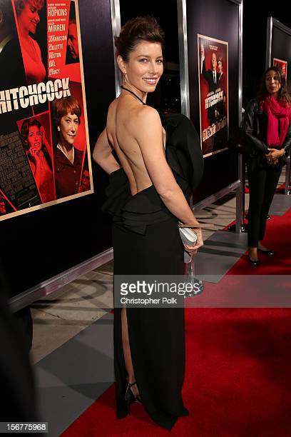 Actress Jessica Biel arrives at the premiere of Fox Searchlight Pictures' Hitchcock at the Academy of Motion Picture Arts and Sciences Samuel Goldwyn...