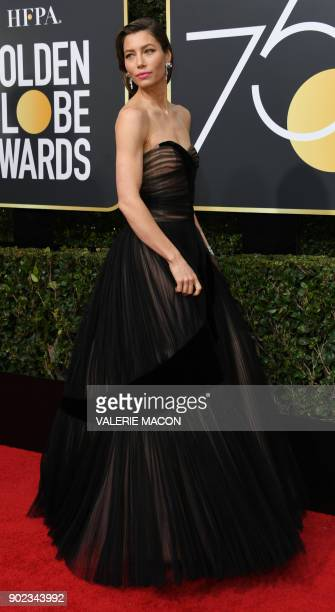 Actress Jessica Biel arrives for the 75th Golden Globe Awards on January 7 in Beverly Hills California / AFP PHOTO / VALERIE MACON