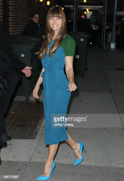 Actress Jessica Biel arrives to Late Show with David Letterman at Ed Sullivan Theater on November 19 2012 in New York City