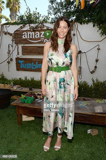 Actress Jessica Biel attends Amazon Video's Tumble Leaf Family Fun Day hosted by Au Fudge on September 13 2015 in Los Angeles California