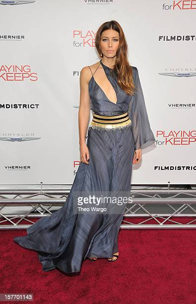 Actress Jessica Biel attends FilmDistrict And Chrysler With The Cinema Society Premiere Of Playing For Keeps at AMC Lincoln Square Theater on...