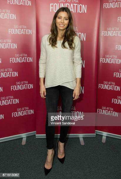 Actress Jessica Biel attends SAGAFTRA Foundation Conversations screening of 'The Sinner' at SAGAFTRA Foundation Screening Room on November 8 2017 in...