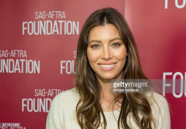 Actress Jessica Biel attends SAGAFTRA Foundation Conversations screening of The Sinner at SAGAFTRA Foundation Screening Room on November 8 2017 in...
