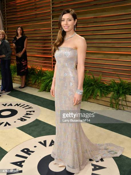 Actress Jessica Biel attends the 2014 Vanity Fair Oscar Party Hosted By Graydon Carter on March 2 2014 in West Hollywood California