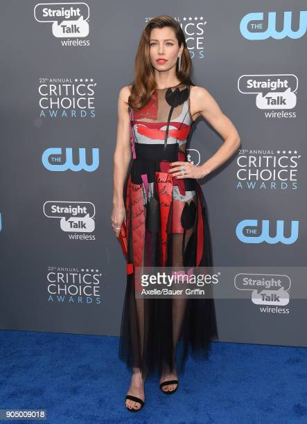 Actress Jessica Biel attends the 23rd Annual Critics' Choice Awards at Barker Hangar on January 11 2018 in Santa Monica California