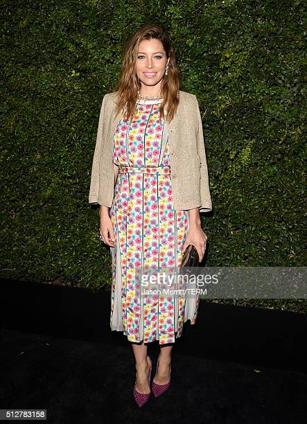 Actress Jessica Biel attends the Charles Finch and Chanel PreOscar Awards Dinner at Madeo Restaurant on February 27 2016 in Los Angeles California