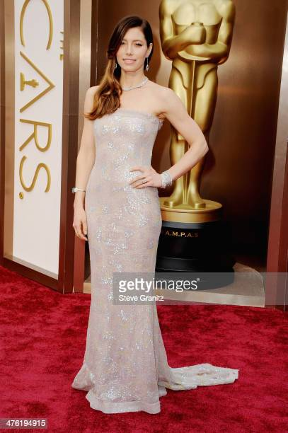 Actress Jessica Biel attends the Oscars held at Hollywood Highland Center on March 2 2014 in Hollywood California