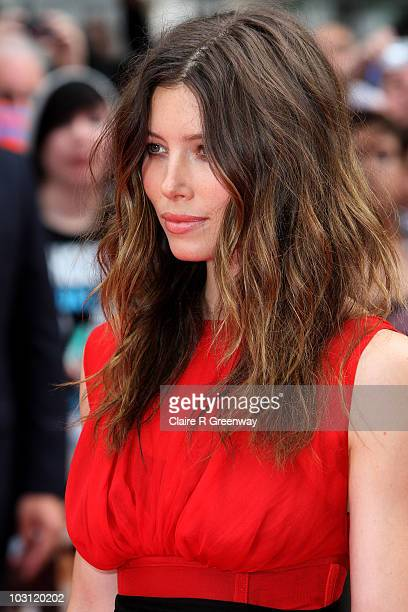Actress Jessica Biel attends the UK Film Premiere of 'The ATeam' at Empire Leicester Square on July 27 2010 in London England