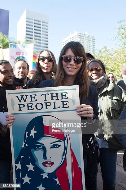 Actress Jessica Biel attends the women's march in Los Angeles on January 21 2017 in Los Angeles California