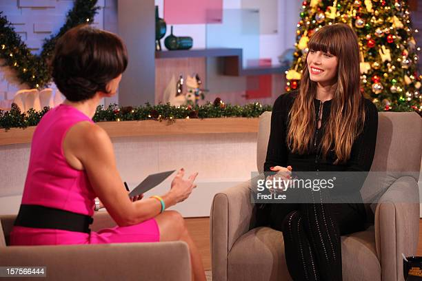 AMERICA Actress Jessica Biel is a guest on Good Morning America 12/4/12 airing on the Walt Disney Television via Getty Images Television Network...
