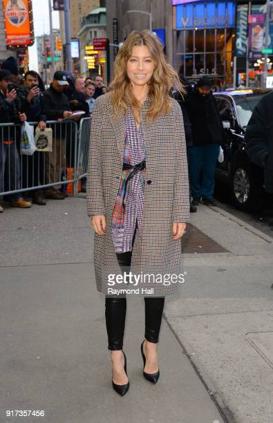 Actress Jessica Biel is seen arriving at 'Good Morning America' on February 12 2018 in New York City