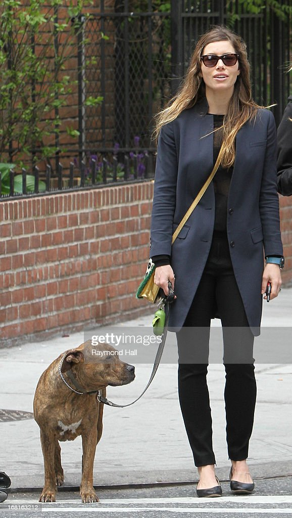 Actress Jessica Biel is seen walking her dog in Soho on May 6, 2013 in New York City.