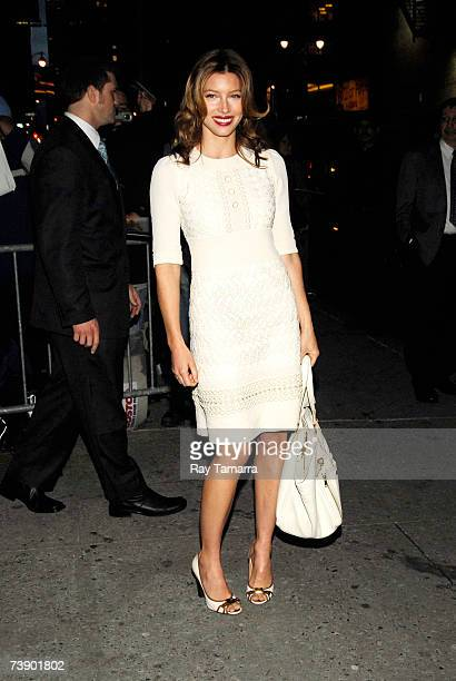 Actress Jessica Biel leaves the Ed Sullivan Theater after a taping of the ''Late Show With David Letterman'' on April 16, 2007 in New York City.