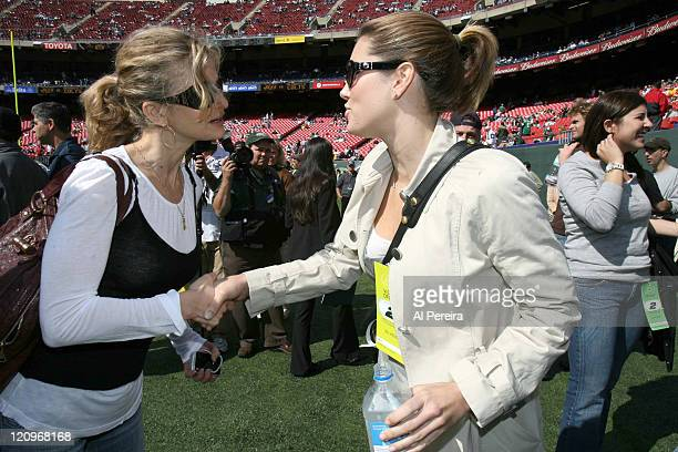 Actress Jessica Biel meets Kyra Sedgwick on the sidelines during the Jets' 3128 loss to the Indianapolis Colts at the Meadowlands East Rutherford New...