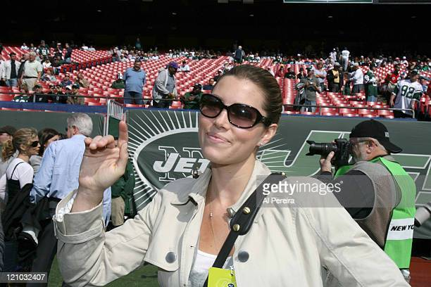 Actress Jessica Biel on the sidelines during the Jets' 3128 loss to the Indianapolis Colts at the Meadowlands East Rutherford New Jersey October 1...