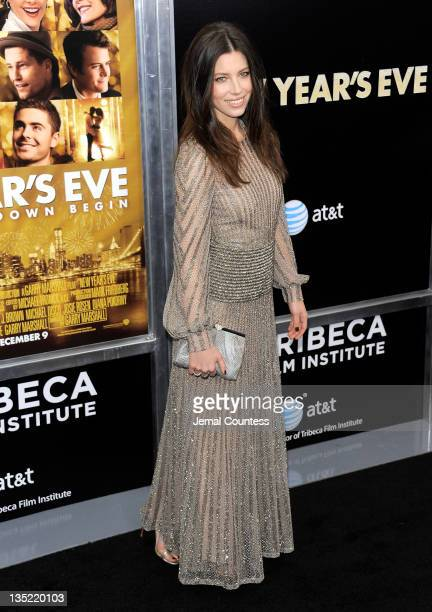 Actress Jessica Biel poses for a photo during the New Year's Eve premiere at Ziegfeld Theatre on December 7 2011 in New York City