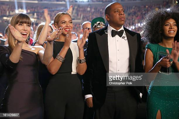 Actress Jessica Biel singer Beyonce rapper JayZ and singer Solange Knowles attend the 55th Annual GRAMMY Awards at STAPLES Center on February 10 2013...