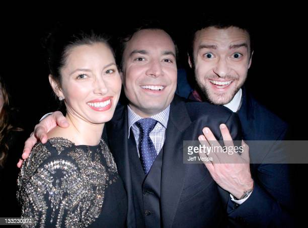 Actress Jessica Biel TV personality Jimmy Fallon and musician Justin Timberlake attend GQ's 2011 'Men of the Year' Party held at Chateau Marmont on...