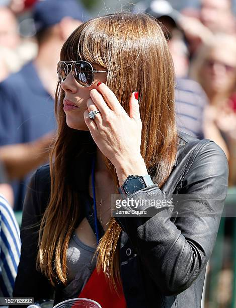 Actress Jessica Biel watches the play of Justin Timberlake during the 2012 Ryder Cup Captains & Celebrity Scramble at Medinah Country Golf Club on...