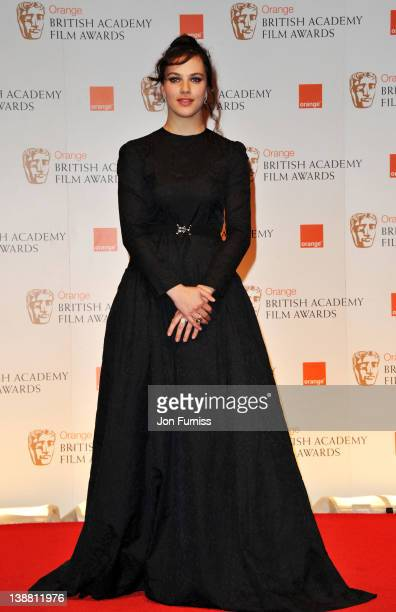 Actress Jessica Brown Findlay poses in the press room during the Orange British Academy Film Awards 2012 at the Royal Opera House on February 12 2012...