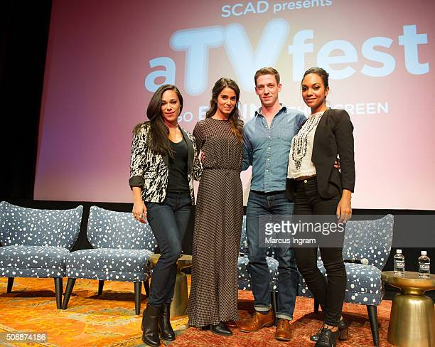 Actress Jessica Camacho actress Nikki Reed actor Zach Appelman and actress Lyndie Greenwood attend 'Sleepy Hollow' event during SCAD aTVfest 2016 Day...
