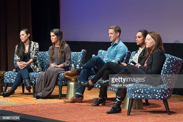 Actress Jessica Camacho actress Nikki Reed actor Zach Appelman actress Lyndie Greenwood and moderator Kim Root speak on stage during 'Sleepy Hollow'...