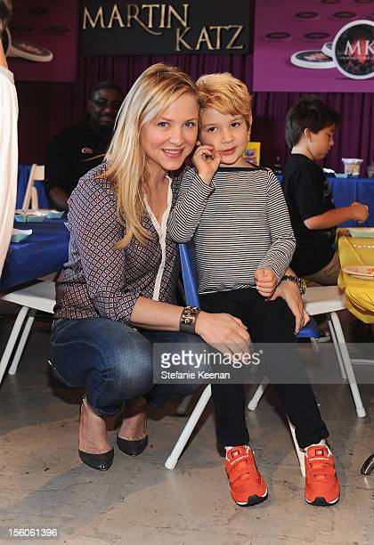 Actress Jessica Capshaw and Luke Hudson Gavigan attend the creative arts fair and family day Express Yourself supporting PS ARTS at Barker Hangar on...